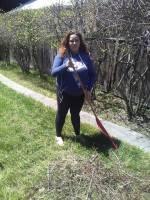 Elisabetta raking ( (Earth Day 2018))