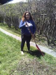 Elisabetta raking ( (Earth Day 2018))